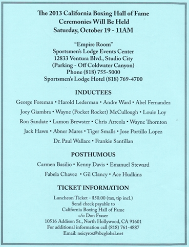 FLYER0001 crop California Boxing Hall of Fame 2013